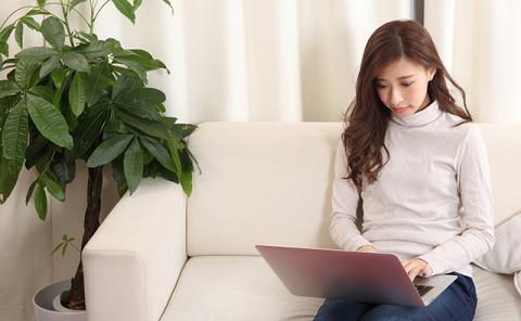 【生活】ソファーでパソコンを見る女性